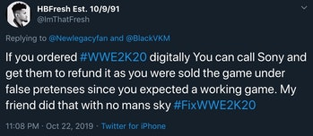 twitter wwe 2k20 refund