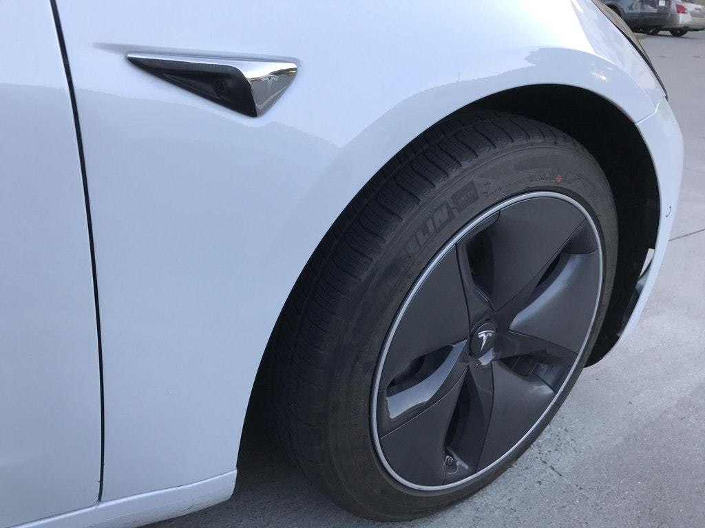 Tesla Model 3's aerodynamic wheels.