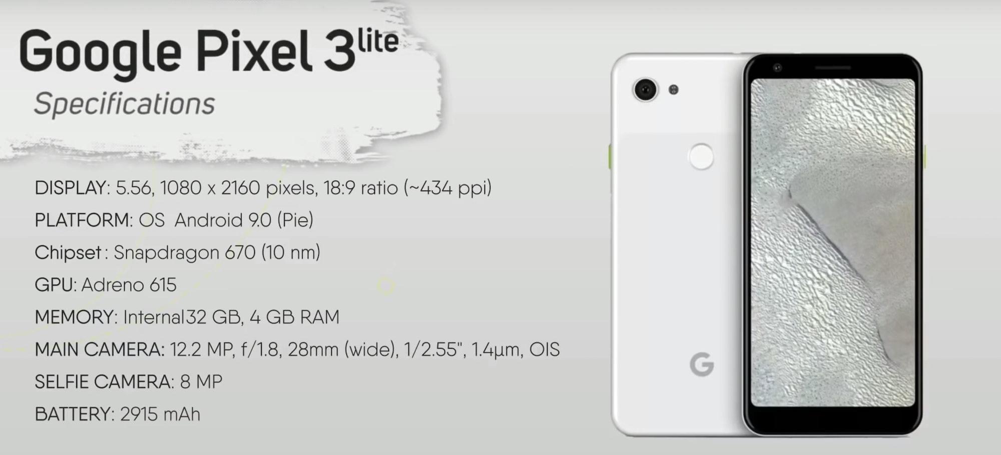 pixel 3 lite specs leak