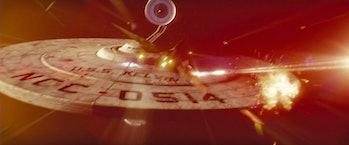 "The destruction of the USS Kelvin created a ""new"" timeline in J.J. Abrams's 'Star Trek' (2009)"
