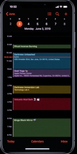 dark mode calendar