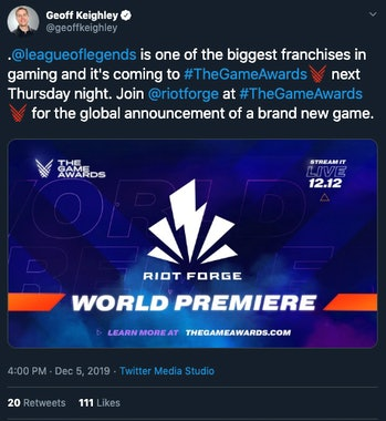 riot forge new game league of legends geoff keighley game awards