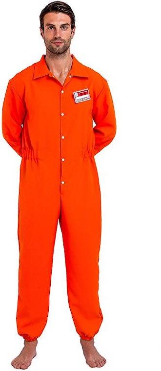 Orange Prison Escaped Inmate Jailbird Coverall Costume