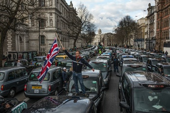 London Taxi drivers stage a protest on Whitehall on February 10,2016in London, England. Drivers ar...