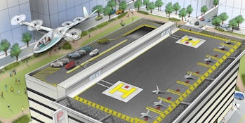 Uber's vision of how VTOL planes could work in the city.