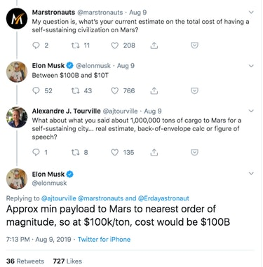 SpaceX CEO Elon Musk discusses on Twitter how much it would cost to establish a city on Mars, using the SpaceX Starship and other related resources.