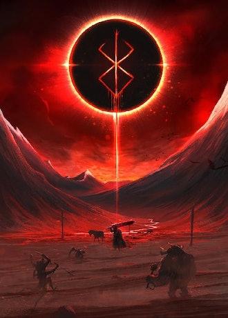 The black swordsman poster on metal