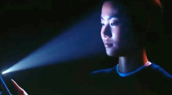 The iPhone X's Face ID face scanner in action.
