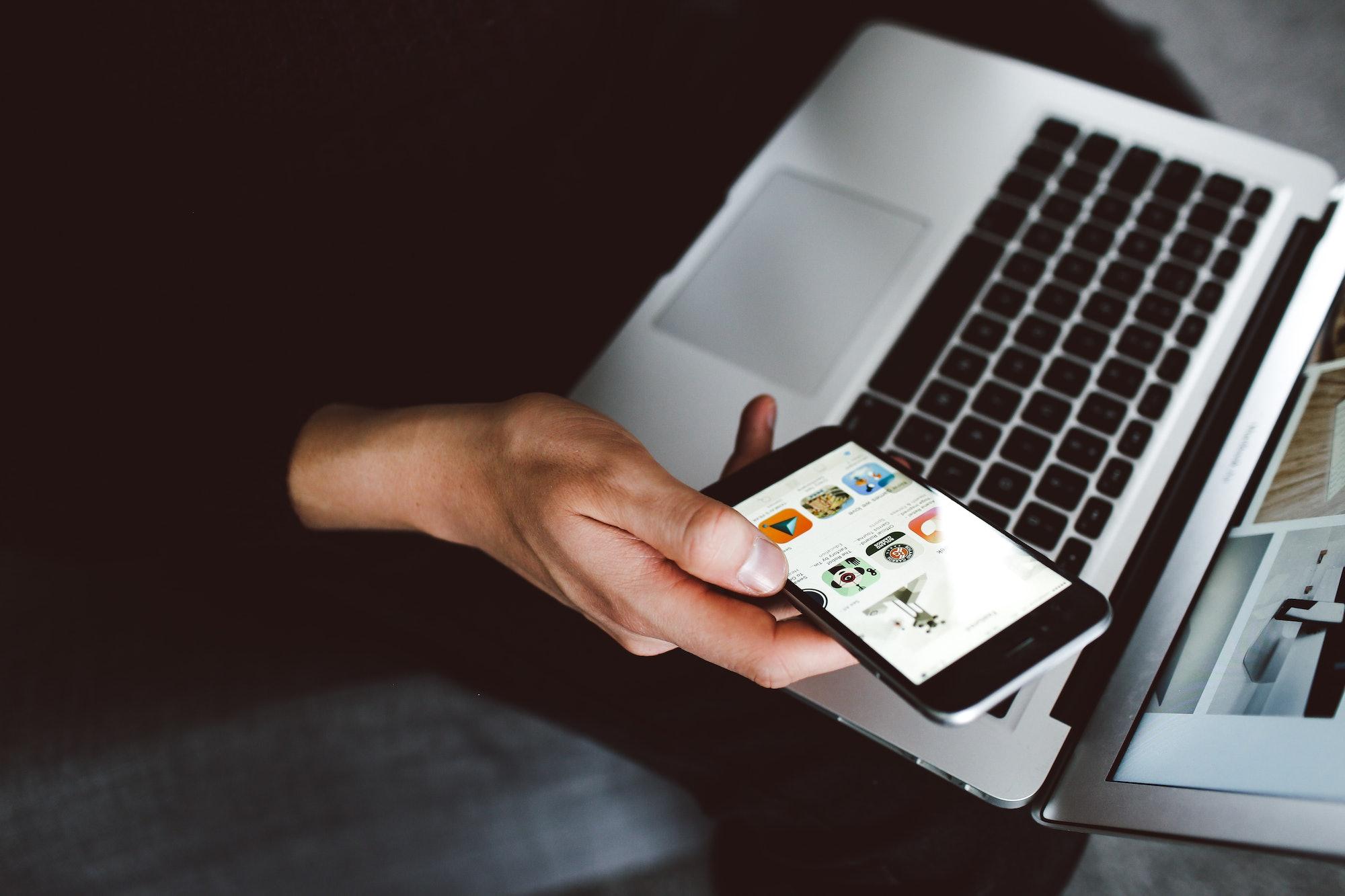 iPhone and MacBook.