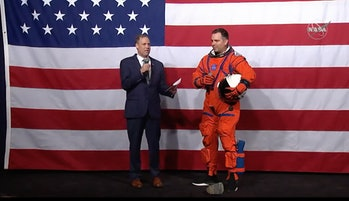 Gohmert demonstrated NASA's latest design for a spacesuit that astronauts will wear during their launch and on their way back from the moon