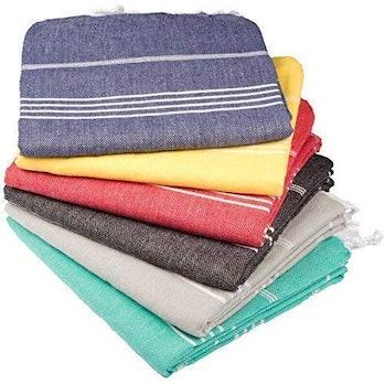 Turkish Bath and Beach Towel Set of 6 Variety Colors Classic Peshtemal 100% Cotton Oversized 39 X 70 Stylish Bath Beach Sand Proof and Pool Towels