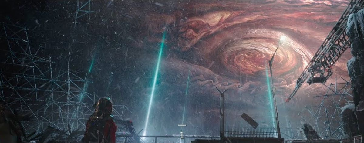 Jupiter appears above Earth in 'The Wandering Earth'