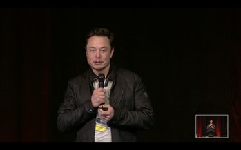 Elon Musk at the shareholder event.