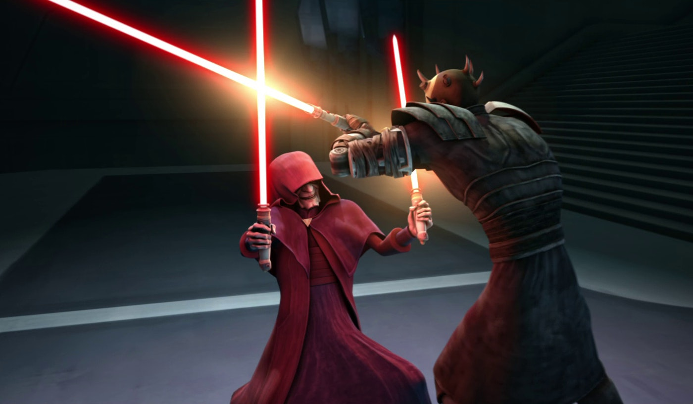 Darth Sidious versus the Maul boys in 'The Clone Wears'