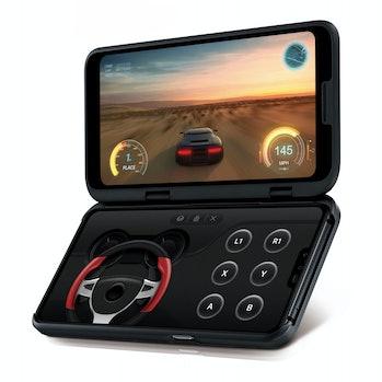 LG V50's optional second screen can display alternative controls.