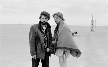 George Lucas and Mark Hamill filming 'Star Wars' in 1976.