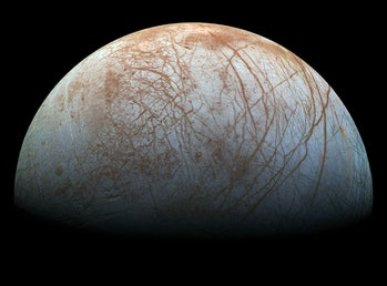 The puzzling, fascinating surface of Jupiter's icy moon Europa looms large in this newly-reprocessed...