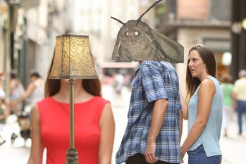 distracted boyfriend moth meme
