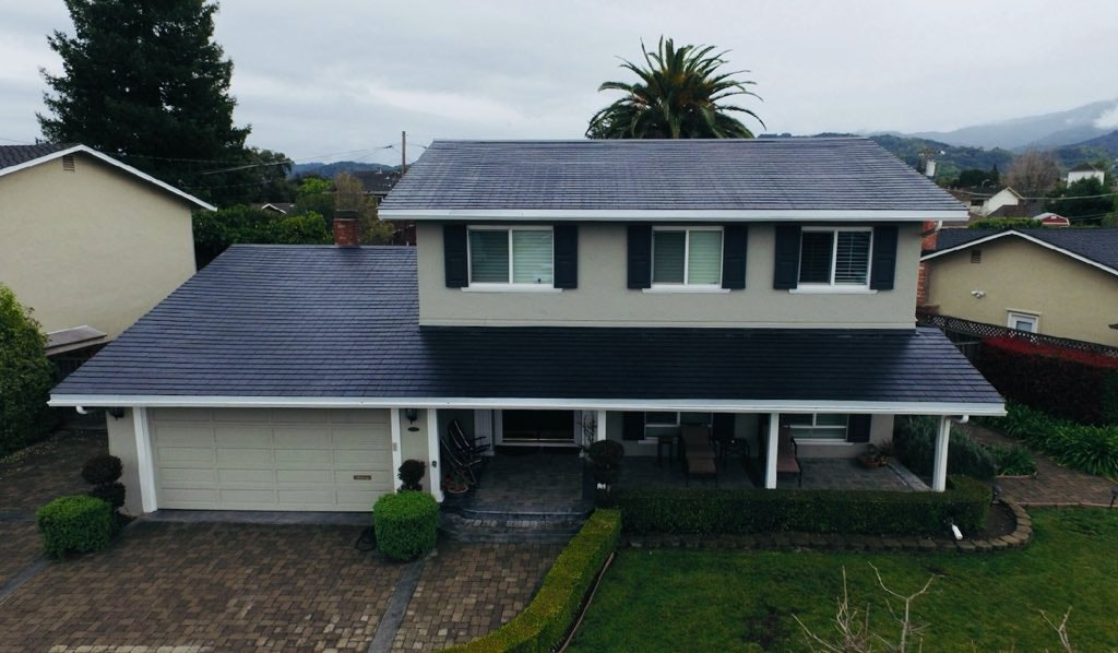 The Tesla Solar Roof installed.