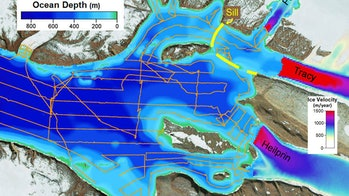 Estimated ice flow velocities of Tracy and Heilprin glaciers (right) and the depths of the fjord in front of the glaciers.