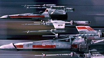 X-wing starfighters as they appeared in the original 'Star Wars'.