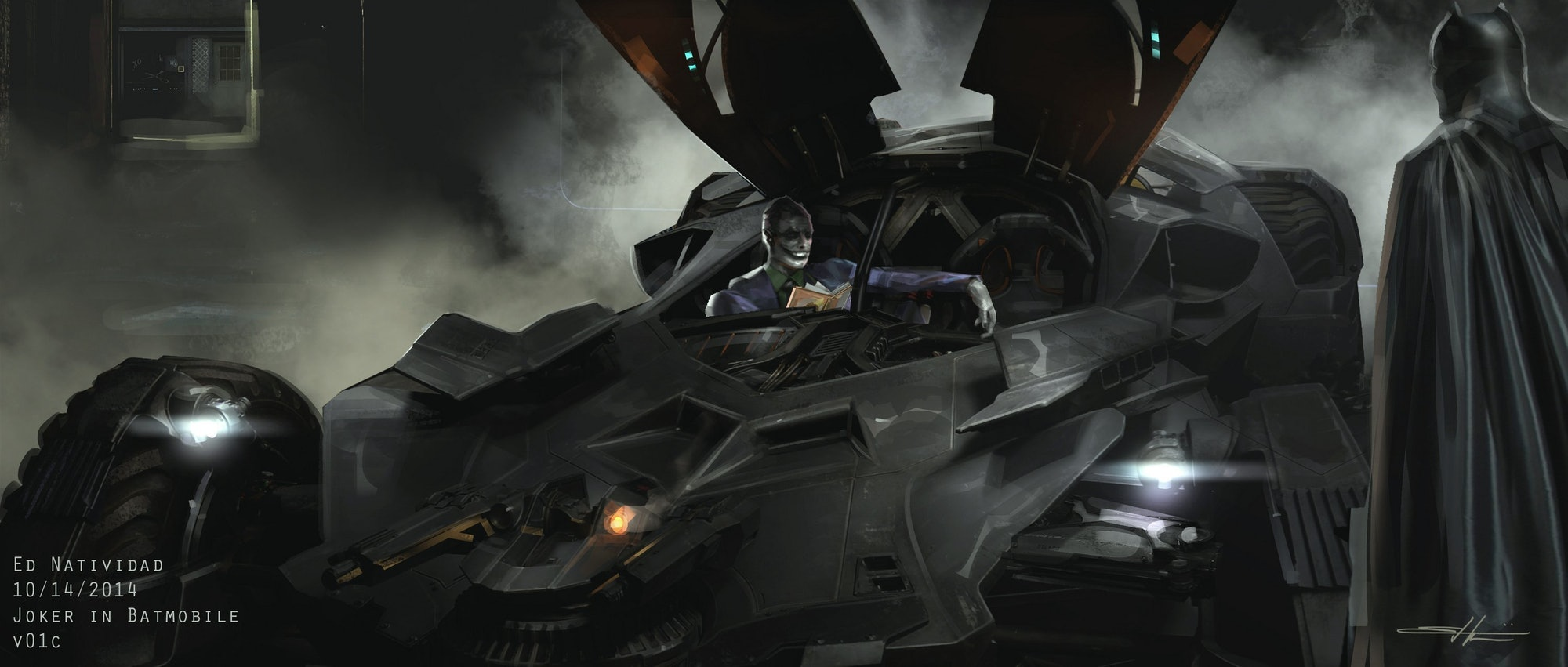 Ed Natividad Concept art for DC's 'Suicide Squad' with Batman and Joker.