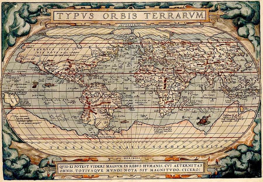 Typus Orbis Terrarum drawn by Abraham Ortelius