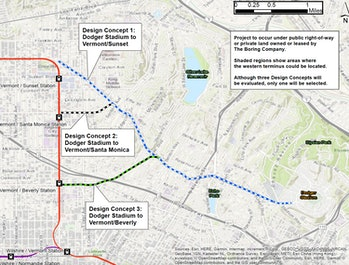 The proposed tunnel route.
