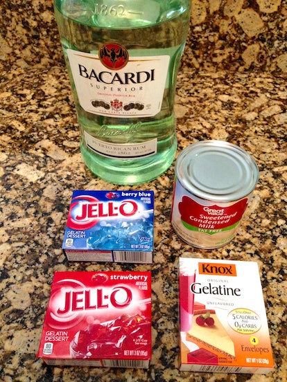 To make Fourth of July-themed jello shots, you will need booze, strawberry and berry-flavored jello, unflavored gelatin, and condensed milk.