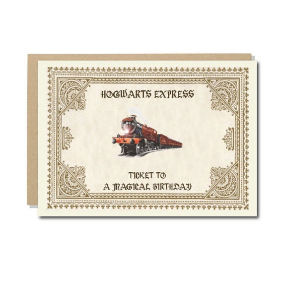 15 harry potter inspired birthday and greeting cards everyone will for the hogwarts kid who never actually got their acceptance letter this ticket is the perfect gift to pair with a harry potter inspired gift bookmarktalkfo Images