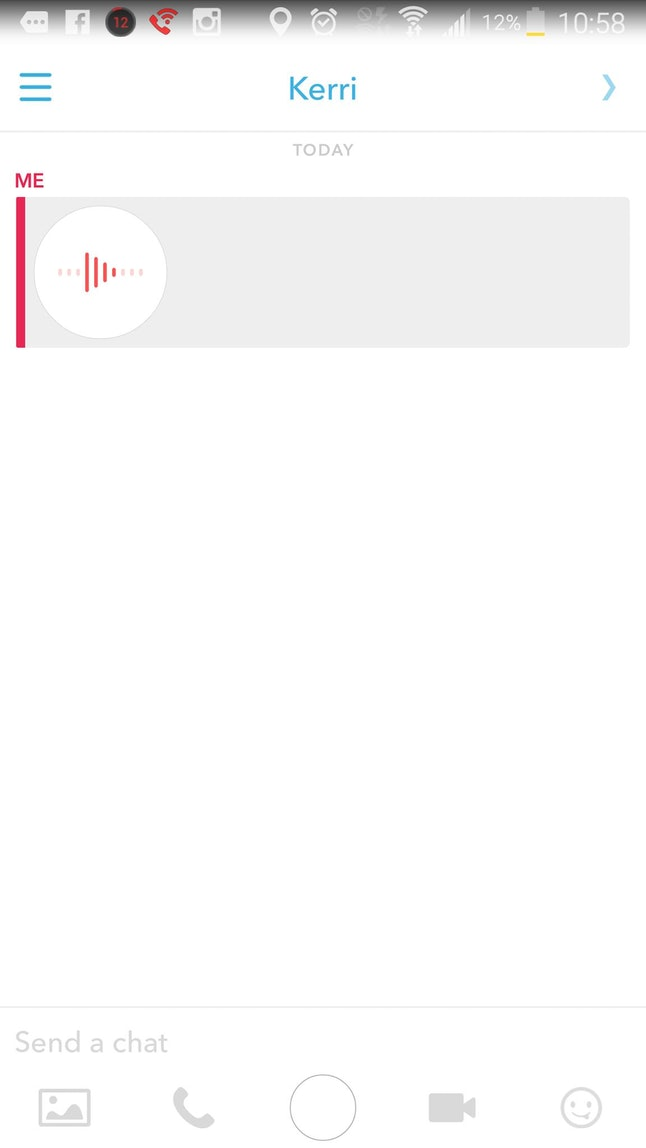 You can play your Snapchat voice message back by clicking on the little bubble that appears after you send the note.