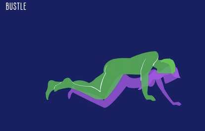 Drawing of a couple in modified doggy sex position for 2020.