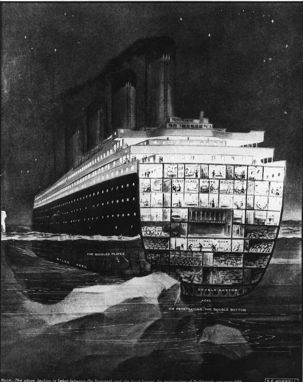9 Eerily Realistic Drawings Of The Titanic As It Sank