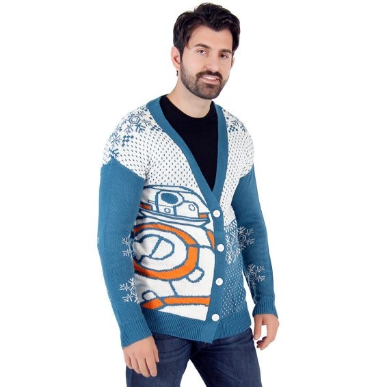 star wars bb8 droid ugly christmas cardigan sweater 5995 ugly christmas sweater