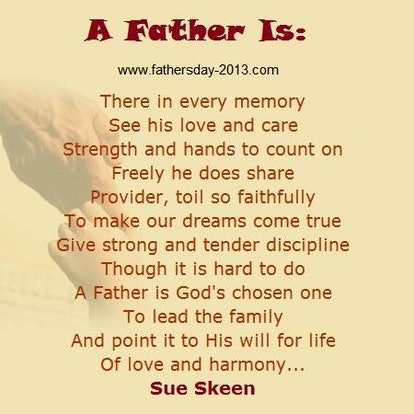 """""""A Father Is"""" by Sue Skeen is a great Father's Day poem."""