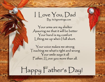 """""""I Love You Dad"""" by 363 Greetings is a great Father's Day poem."""