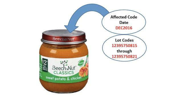 Beech Nut Organic Baby Food Recall