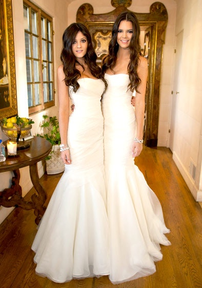 What did kendall and kylie wear to kims wedding the bridesmaid besides its not the first time her bridal party has worn white remember the white bridesmaid dresses from her wedding to kris humphries junglespirit Images