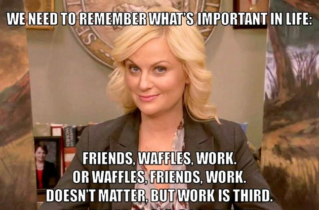Leslie Knope celebrating Galentine's Day on Parks and Recreation.