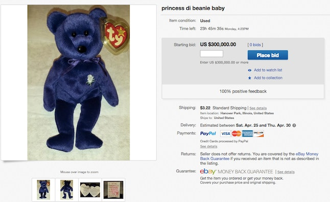 How Much Are Beanie Babies Worth  The Princess Diana Bear Is Going ... a16d8d09985