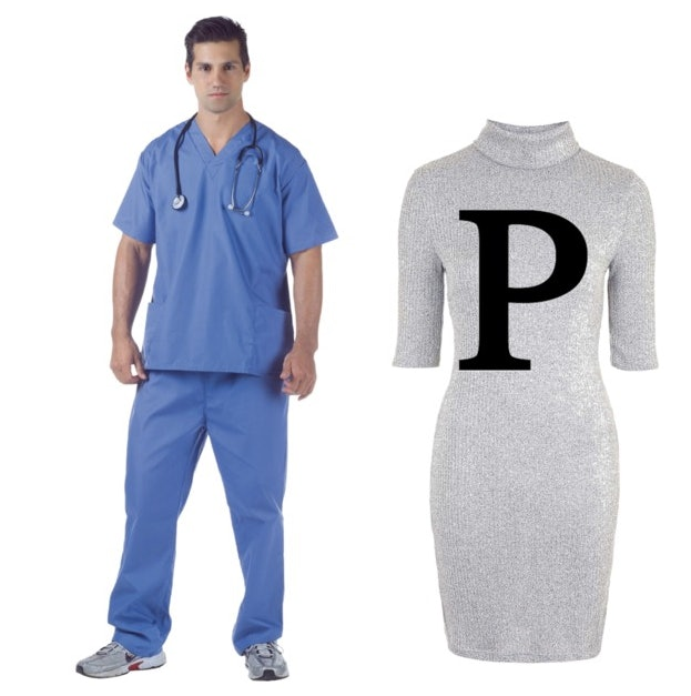 What Youu0027ll Need Scrubs a stethoscope doctoru0027s coat and a grey dress or t-shirt with a giant  P  on it. To really sell it you can even make a hat out ...  sc 1 st  Bustle & 20 Clever Pun Halloween Costumes For Couples Who Are Looking For Laughs