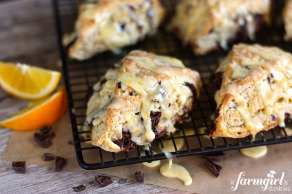 A Farmgirl's Dabbles has a recipe for orange and chocolate scones that you'll fall in love with.