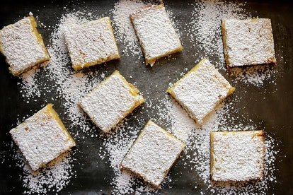 These lemon bars from Joy The Baker are sweet, tangy, and come topped with powdered sugar.