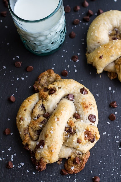 This chocolate chip cookie stuffed pretzel combines sweet and salty in the best way.