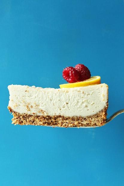 Minimalist Baker's cheesecake recipe is vegan and gluten free.