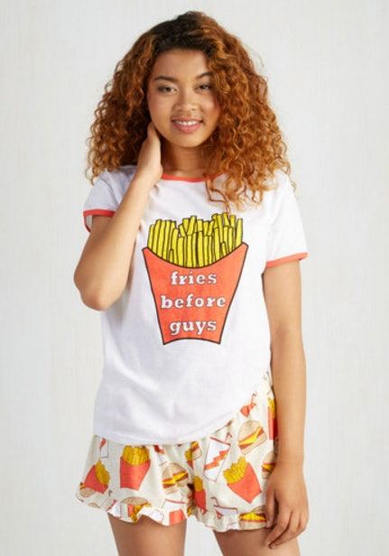 15 gorgeous pajamas to wear to an adult slumber party T shirt and shorts pyjamas