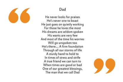 """""""Dad"""" by Karen K. Boyer is a great Father's Day poem."""
