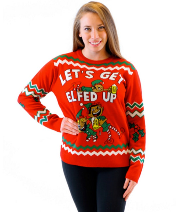 Ugly Christmas sweater Womens Crewneck Sweater Deer Festive
