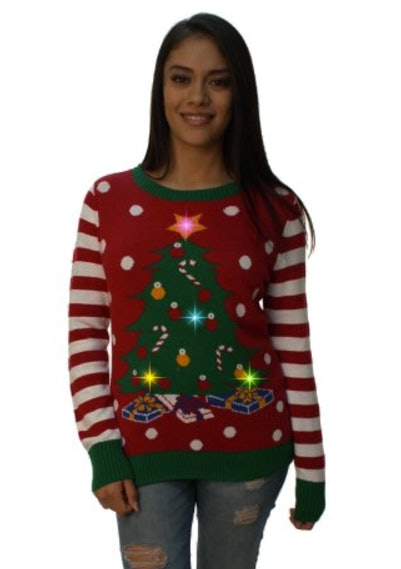 Where to buy ugly christmas sweaters in time for all of your holiday christmas tree led light up sweater 34 walmart solutioingenieria Choice Image
