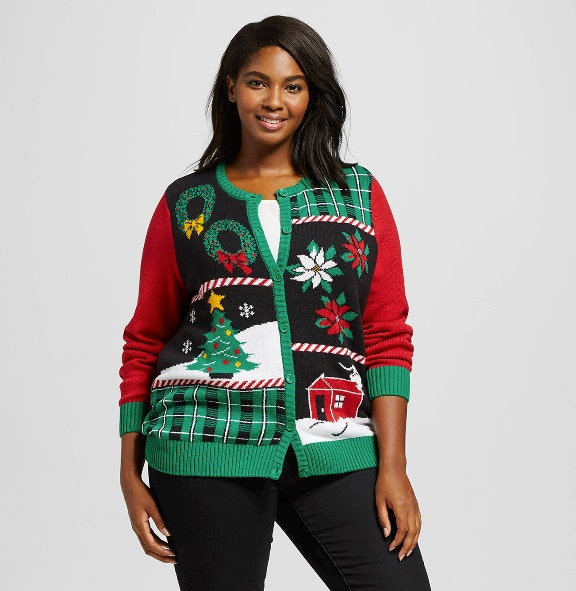 plaid house ugly christmas sweater cardigan 24 target - Best Place To Buy Ugly Christmas Sweaters